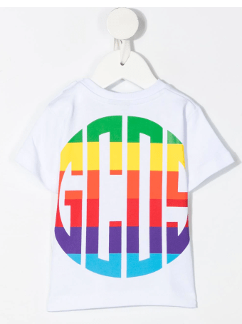 GCDS Mini White T-shirt With Multicolor Logo-print