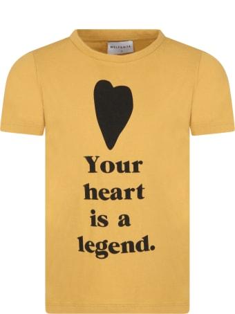 Wolf & Rita Yellow ''sebastiào'' T-shirt For Kids With Heart