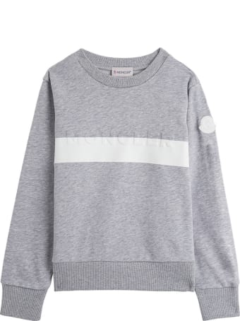 Moncler Grey Jersey Sweatshirt With Logo
