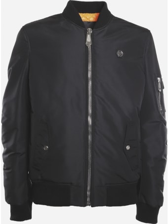 Philipp Plein Technical Fabric Bomber Jacket With Logo Patch