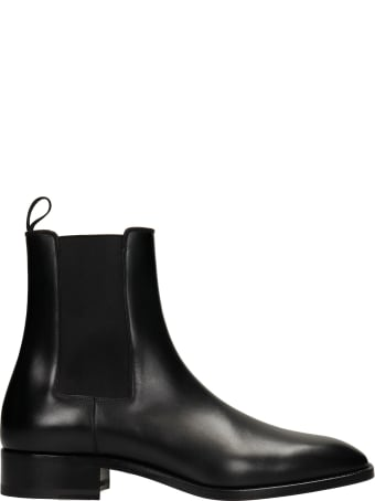 Christian Louboutin Samson Flat Ankle Boots In Black Leather