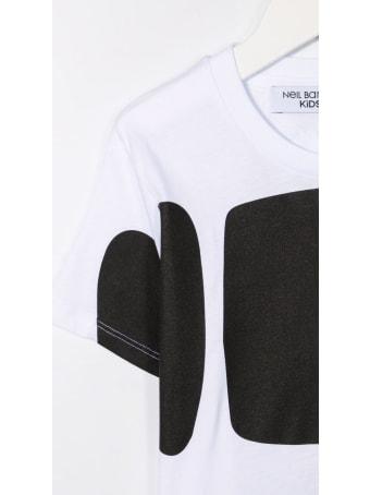 Neil Barrett Kids White T-shirt With Macro Bold Logo
