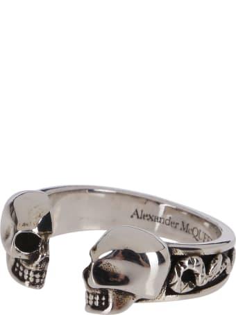 Alexander McQueen Silver-tone Steel Skull Ring