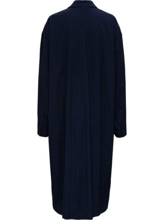Balenciaga Oversize Long Coat In Blue Nylon