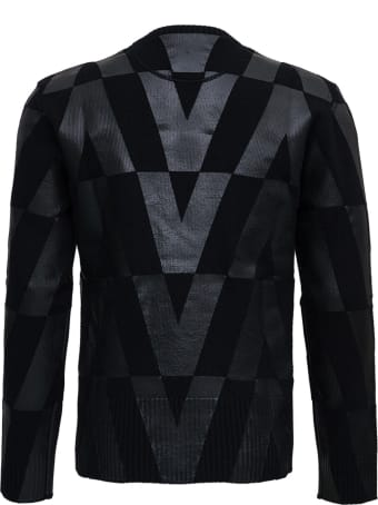 Valentino Black Wool Crew Neck Sweater With Macro Optical Print