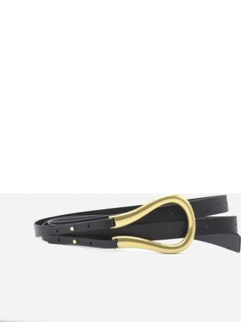 Bottega Veneta Double Leather Belt With Gold Finish Buckle