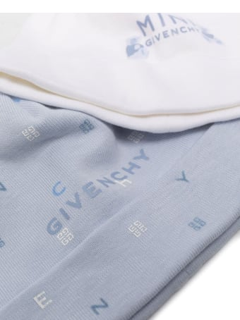 Givenchy Set Of Beanies White And Light Blue Cotton