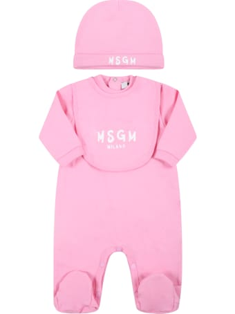 MSGM Pink Set Fo Baby Girl With White Logo