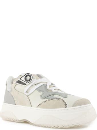 N.21 Tonal Grey And White Low-top Sneakers