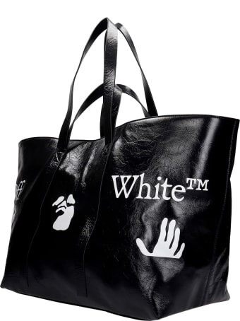 Off-White Tote In Black Leather