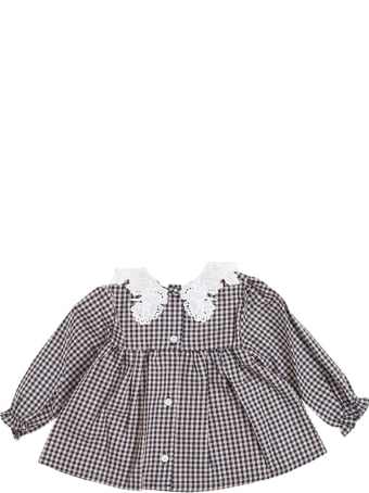 Tartine et Chocolat Voyage Check Cotton Shirt With Lace Collar