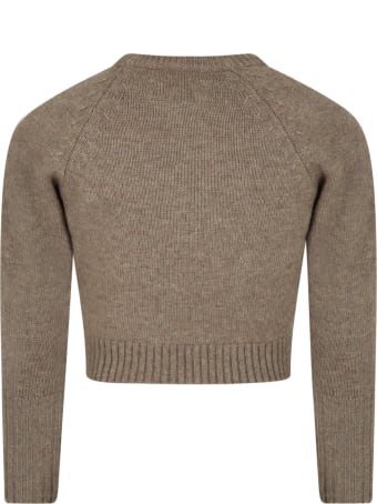 Zadig & Voltaire Green Sweater For Kids With Rock Writing