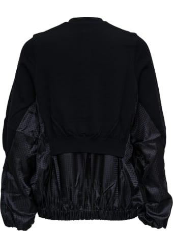 Noir Kei Ninomiya Black Wool Blend Bomber Jacket With Houndstooth Detail