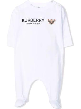 Burberry White Cotton Sleepsuit