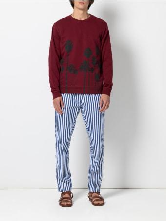 Christian Pellizzari Burgundy Sweatshirt With Black Palms