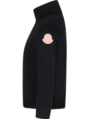 Moncler Black Turtleneck For Girl With Pink Logo