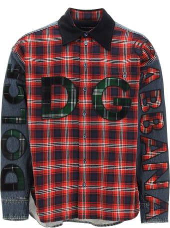 Dolce & Gabbana Oversized Denim And Flannel Shirt With Logo