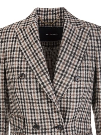 Kiton Woman Double-breasted Blazer In Blend Alpaca And Wool With Check Pattern