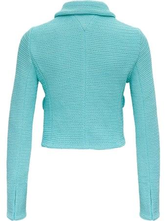 Bottega Veneta Racked Ribbed Blue Knit Jacket