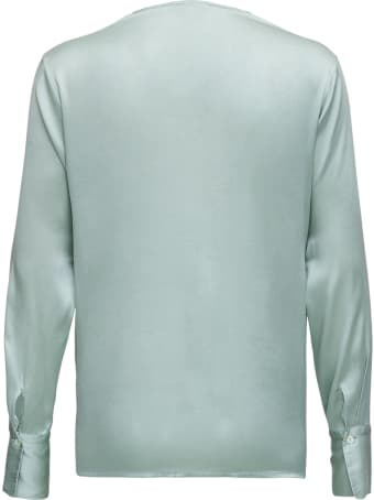 Antonelli Long-sleeved Shirt In  Green Silk