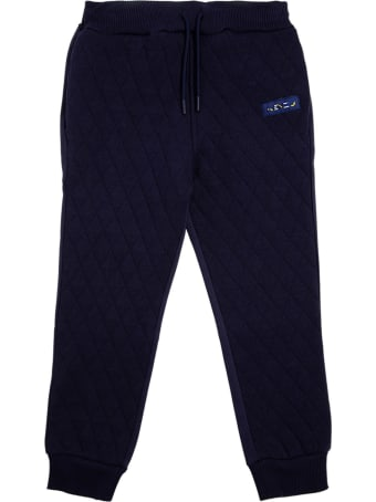 Kenzo Kids Blue Quilted Cotton Joggers With Logo