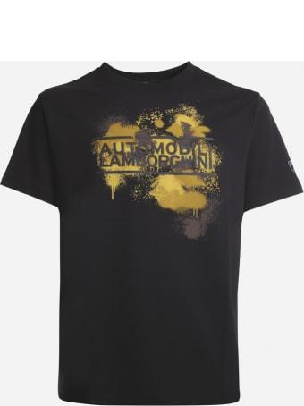 Automobili Lamborghini Cotton T-shirt With Contrasting Logo Print