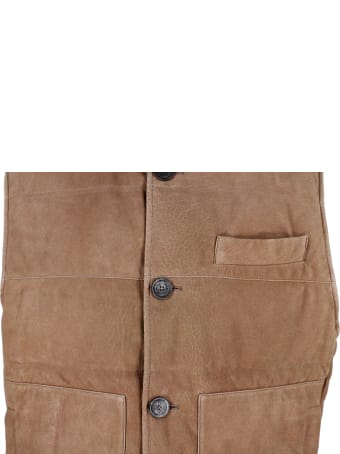 Brunello Cucinelli Nubuck Leather Vest Padded With Real Goose Down