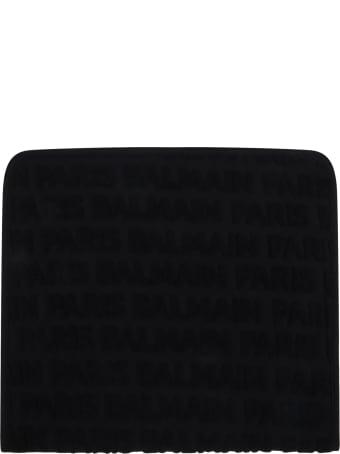 Balmain Black Towel For Babykids With Black Logo