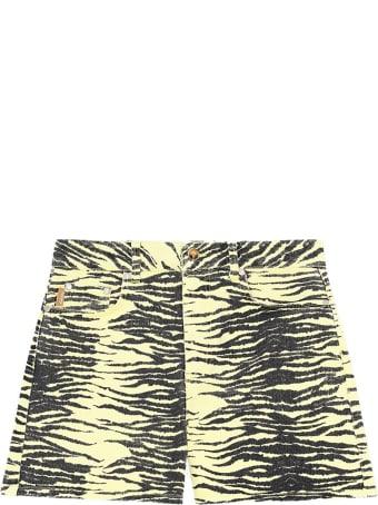 Ganni Print Denim Shorts