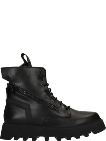Bruno Bordese Doc Combat Boots In Black Leather
