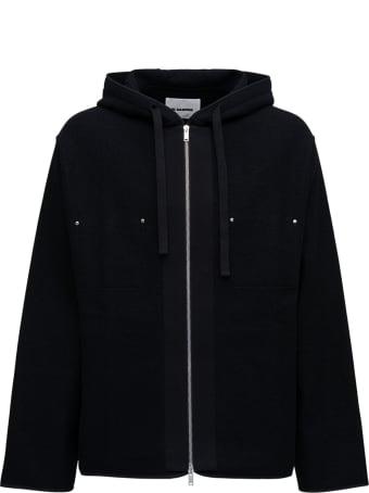 Jil Sander Black Wool Blend Hoodie With Studs