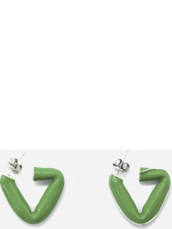 Bottega Veneta Triangular Silver Earrings With Enamel Inserts