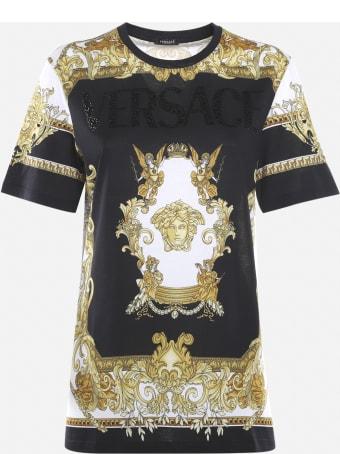 Versace Cotton T-shirt With Medusa Renaissance Logo