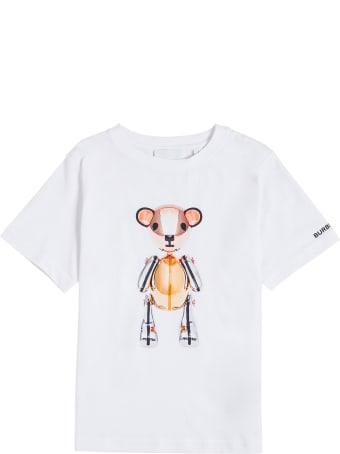 Burberry White Jersey Tee With Print