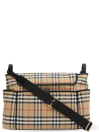 Burberry Beige Logo-print Checked Changing Bag