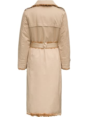 urbancode Beige Reversible  Cotton And Ecological Shearling Trench