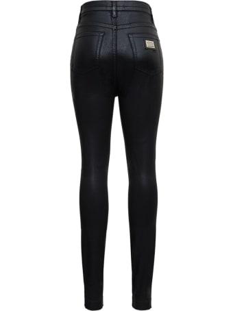 Dolce & Gabbana Black Jeans In Laminated Denim