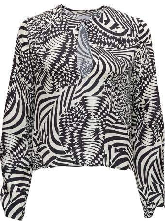 Merci White And Black Geometric Printed Shirt