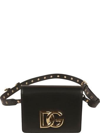 Dolce & Gabbana Studded Strap Logo Shoulder Bag