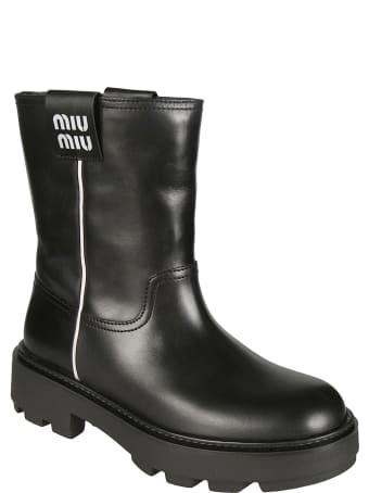 Miu Miu Classic Logo Patched Boots