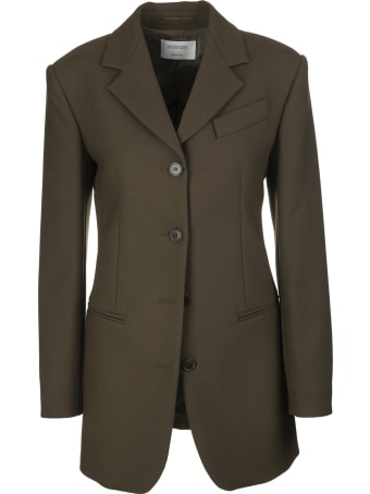 SportMax Military Green Peter Single Breasted Long Blazer