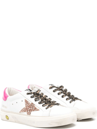 Golden Goose Kid White Super-star Sneakers With Pink Glitter Star And Leopard Laces
