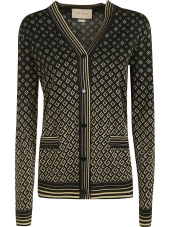 Gucci Stripe Trimmed Logo Cardigan