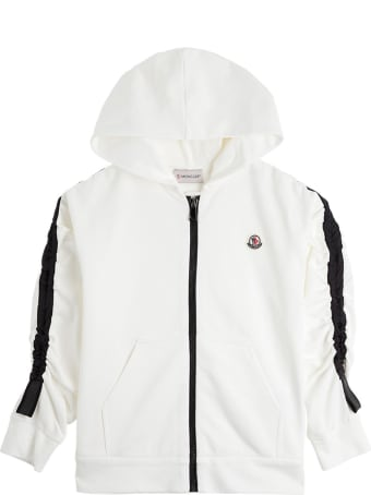 Moncler Black And White Jersey Hoodie With Logo