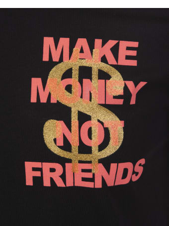 Make Money Not Friends Black T-shirt With Coral Pink Logo And Golden Glitter Dollar
