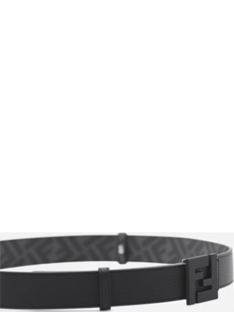 Fendi Reversible Leather Belt With All-over Ff Motif