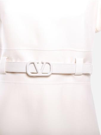 Valentino Silk And Wool Dress With V-logo Belt