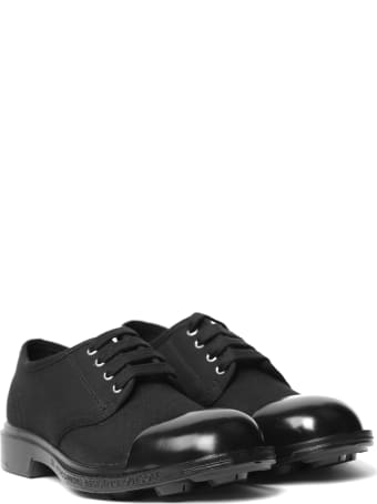 Pezzol 1951 Black Canvas & Leather Lace-up Shoes