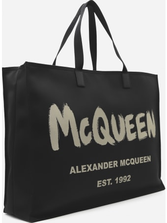 Alexander McQueen East West Tote Bag In Nylon With Graffiti Print