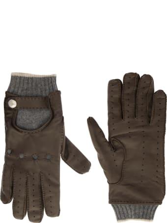 Brunello Cucinelli Leather And Cashmere Gloves